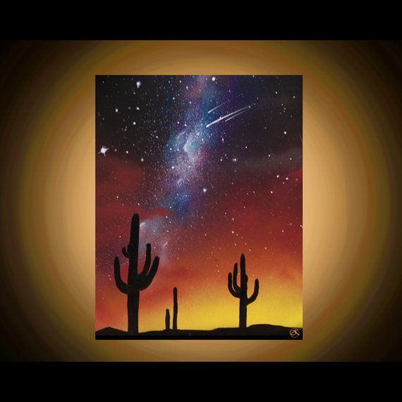 Stars Cactus Silhouette Wall Art- Arizona Landscape - Desert Paintings - Paintings on canvas - Space Art - landscape - Spray Paint Art