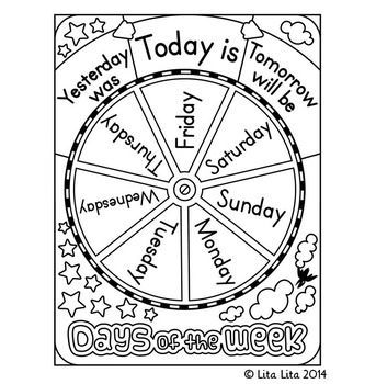 FREE Days of the week wheel Laminate the wheel, attach to laminated cardstock with brad so it can turn, add a mini clothespin at the top of the cardstock, place in students' binders. Students can turn the wheel to the right day and hold it with the clothespin. Add school and house pics to the correct days before laminating. On school holidays could just X out the school pic.