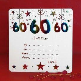 Tarjetas de Invitación - Fiestas de Cumpleaños 60 Años