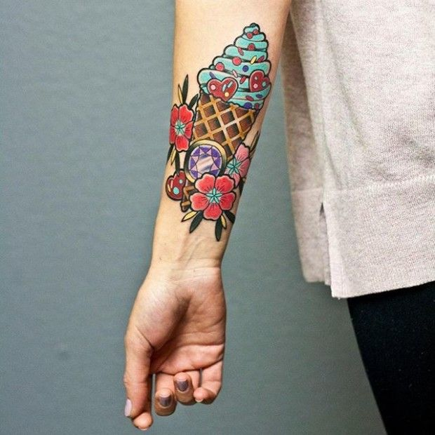 15 Irresistible Ice Cream Tattoos