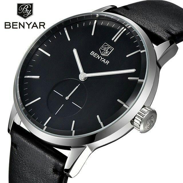 Relogio Masculino 2016 Watches Men Genuine Leather Quartz male wristwatches dive 30m Casual Sport Men Watch Luxury Brand BENYAR