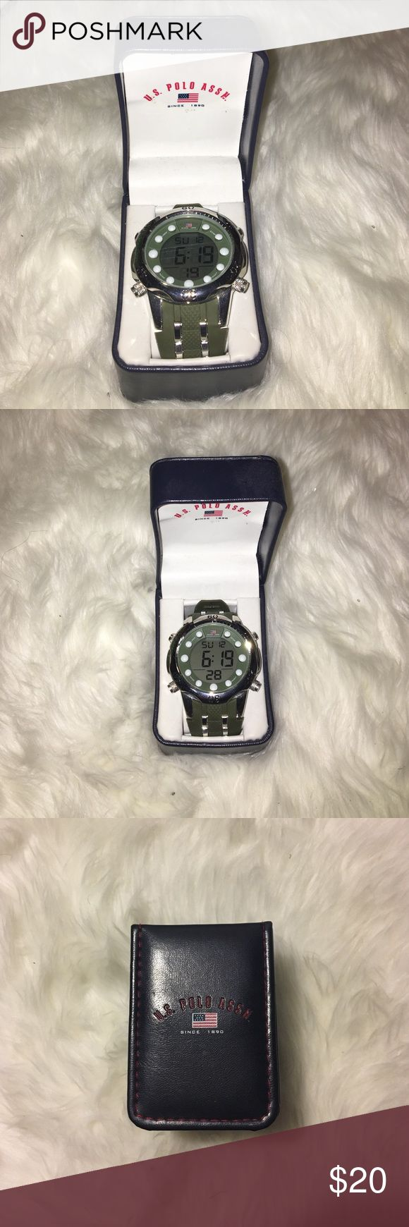 Men's Polo Watch Green men's polo watch, never been worn. I've had it for a year and it's stayed in the case the whole time. U.S. Polo Assn. Accessories Watches