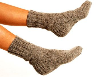 "MEN WOOL SOCKS ""Touring back roads"".  Hand knitted from natural grey sheep wool yarn. Great for hiking"