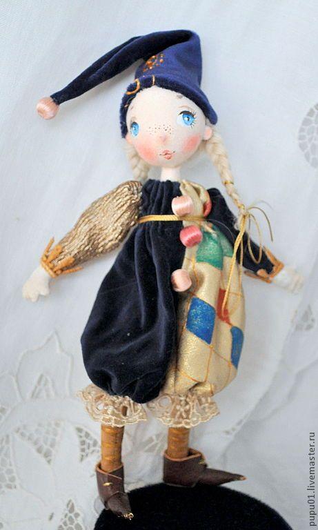 Купить Авторская кукла Эстель - тёмно-синий, кукла ручной работы, коломбина, грунтованный текстиль