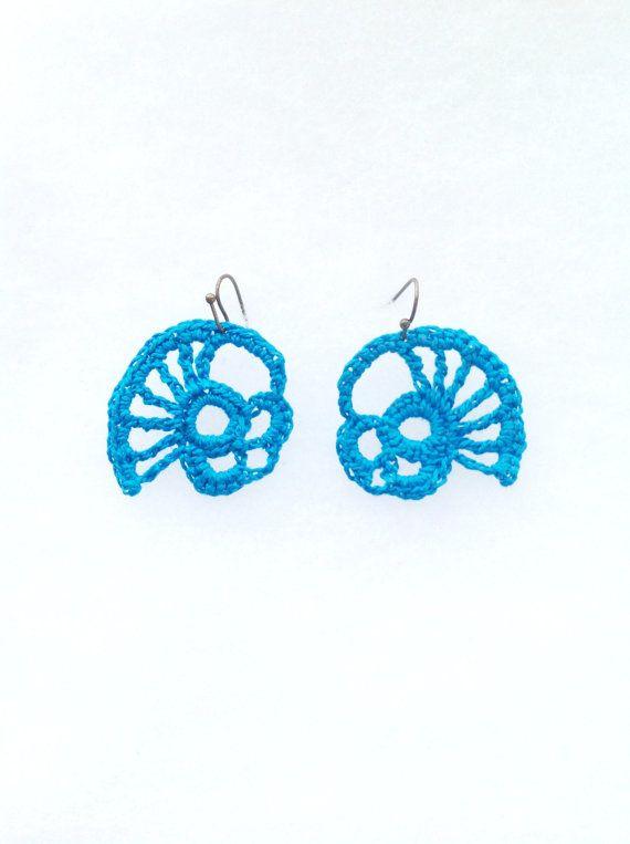 Abstract Crochet freeform ooak turquoise earrings