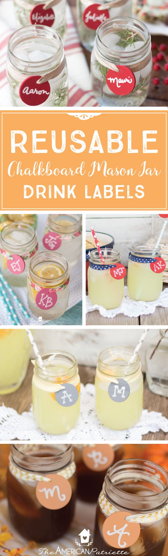 Reusable Chalkboard Mason Jar Drink Labels; Mason Jar Crafts; Chalkboard Drink Tags; Entertaining; Hospitality; Party Drink Ideas