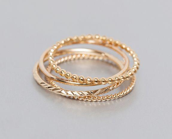 Bouquet de 4 bagues, anneaux plaqués en or 18K— Delphine Pariente