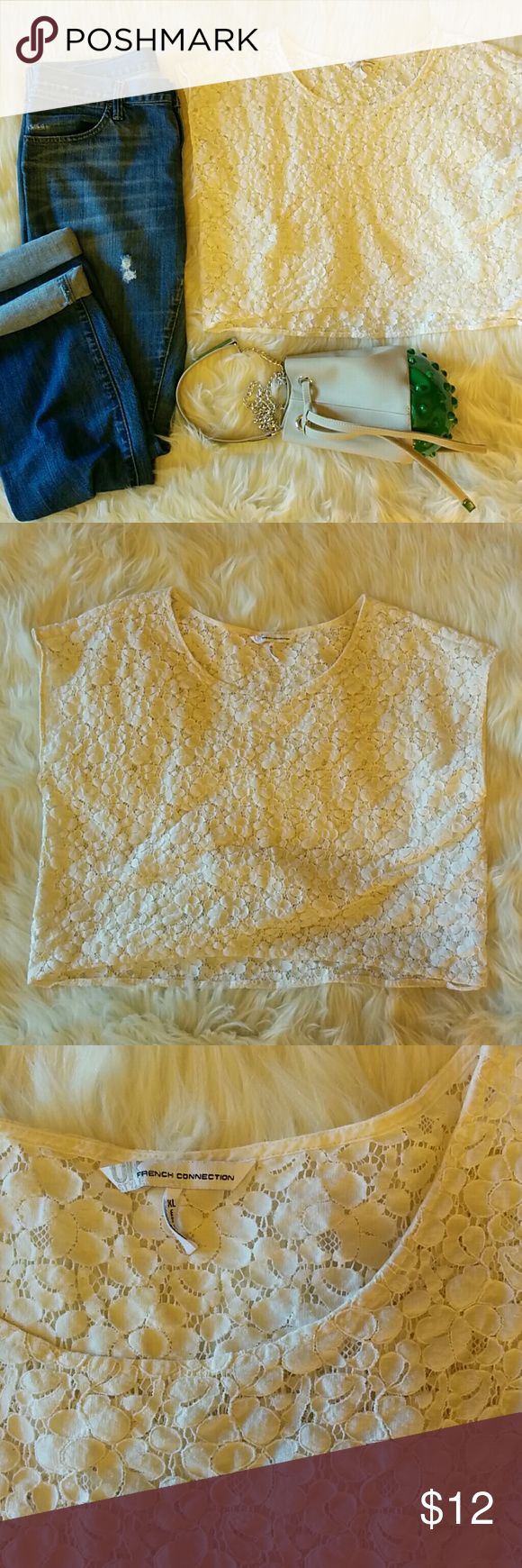 French Connection Crop Top Creamy white lace crop top by UK Style French Connection. French Connection Tops Crop Tops