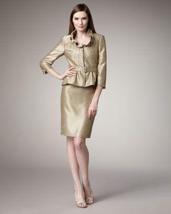 Shantung Peplum Suit by Tahari at Neiman Marcus.