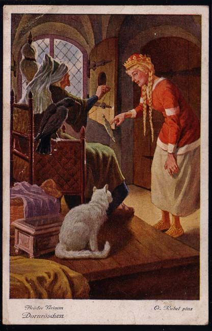 """Sleeping Beauty"" by the Brothers Grimm - German postcard illustrated by O…"