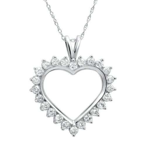 1ct tw Diamond Heart Necklace in 10K White Gold « Blast Gifts