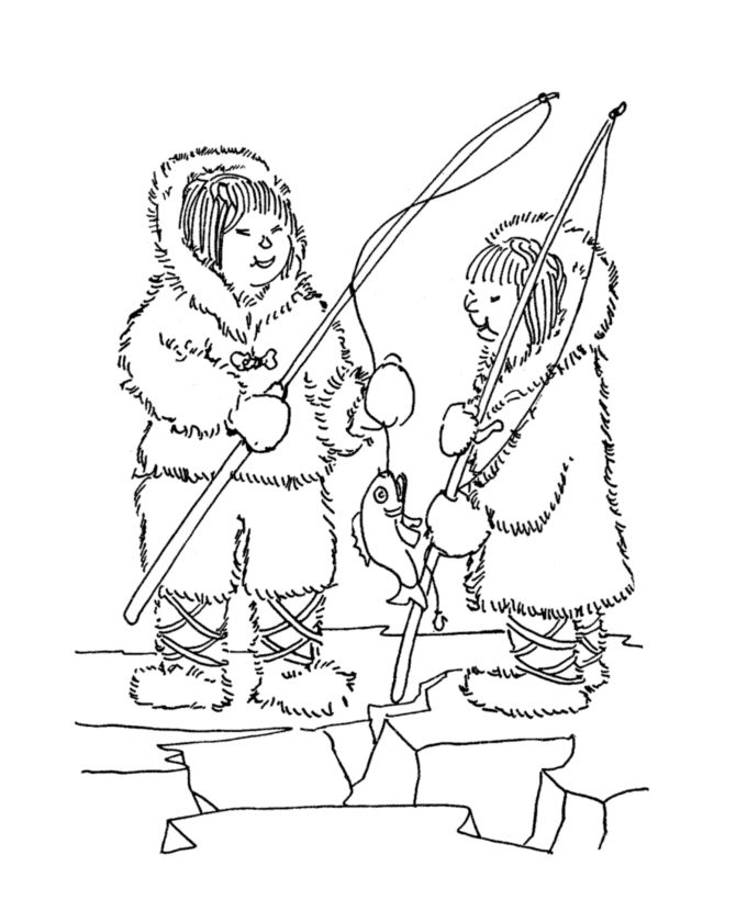 ice fishing coloring page.