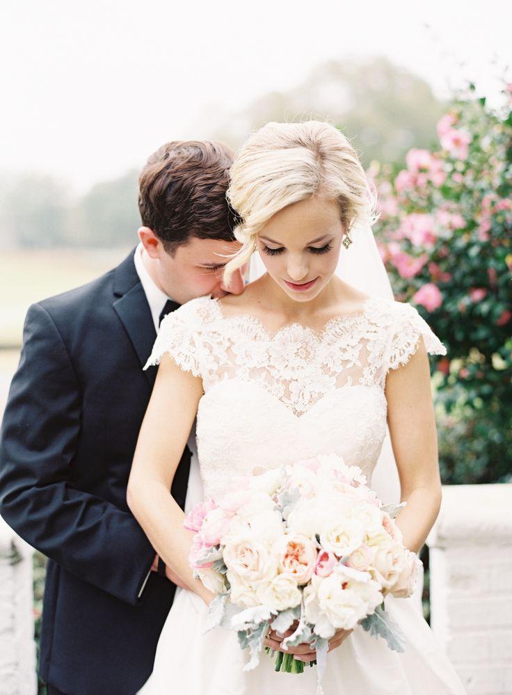 Romantic lace short sleeve wedding dress: http://www.stylemepretty.com/2016/02/23/trend-short-sleeve-wedding-dresses/