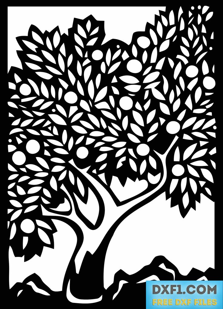 Silhouette of an olive tree in a frame in various vector formats (dxf, eps, ai, emf, cdr, svg, pdf, png). The file is adapted for plasma, laser CNC or manual cutting using file as a stencil.
