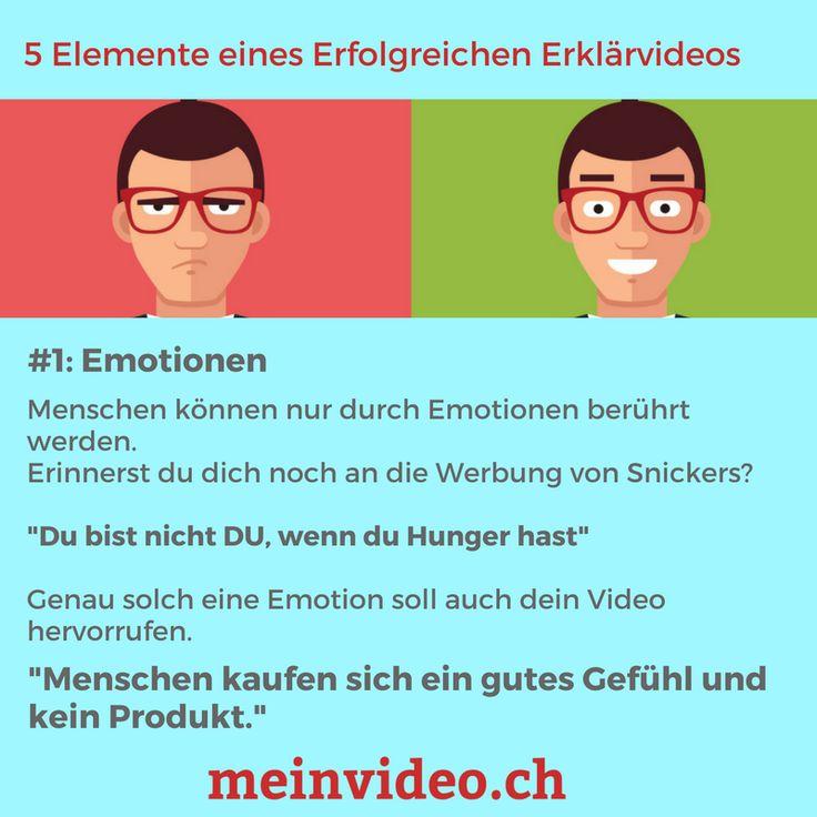 """5 Elemente eines Erfolgreichen Erklärvideos  #1: Emotionen  Menschen können nur durch Emotionen berührt werden.  Erinnerst du dich noch an die Werbung von Snickers?   """"Du bist nicht DU, wenn du Hunger hast""""  Genau solch eine Emotion soll auch dein Video hervorrufen.  """"Menschen kaufen sich ein gutes Gefühl und kein Produkt.""""  Gönne dir ein Erklärvideo hier: http://amp.gs/prCI"""