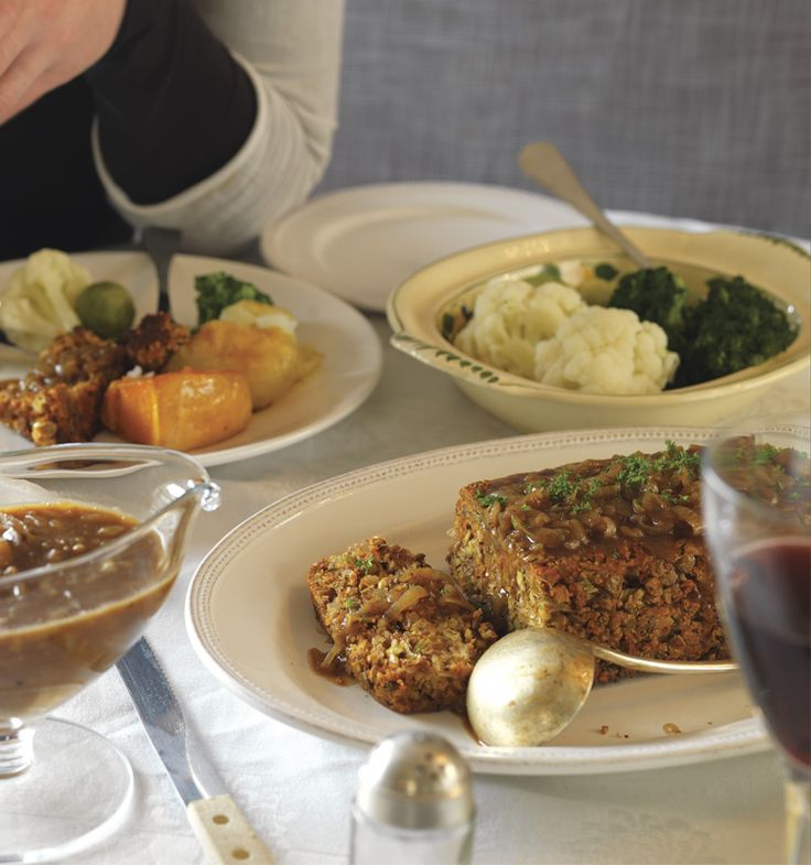 Roasted Almond & Lentil Loaf with Caramelised Onion Gravy