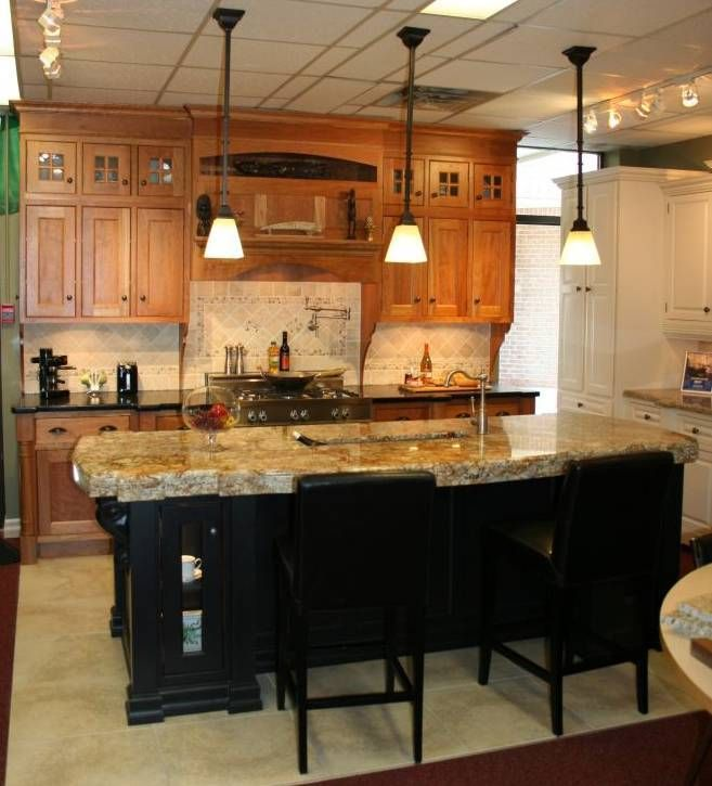 Contrasting island kitchen pinterest for Different kitchen designs