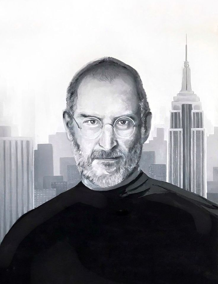 """realistic oil painting on canvas """"Steve Jobs"""" apple king 27,5 x 35,5 inch #Realism"""