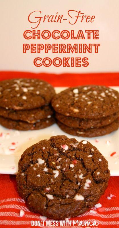 Gluten Free Cookies: Grain-Free, Sugar-Free Chocolate Peppermint Cookies #paleo #glutenfree