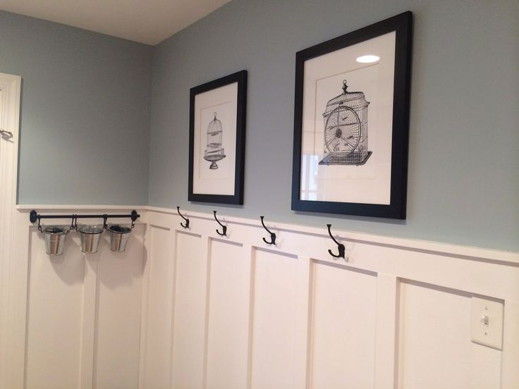 Mudroom updated with board and batten, wall color Valspar Woodlawn Silver Brook.