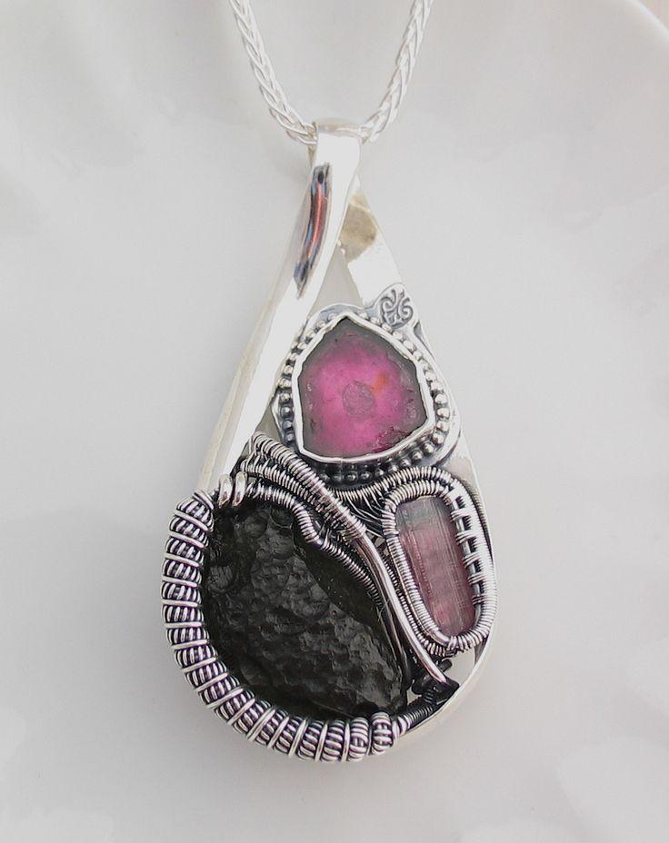 Watermelon Tourmaline Slice, Moldavite, and Pink Tourmaline Crystal Wire Wrap Pendant