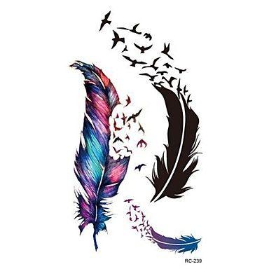 RC-Tatuajes+Adhesivos-Waterproof-Otros-Mujer+/+Hombre+/+Adulto-Multicolor-PVC-1pcs-10.5*6cm-feather+–+EUR+€+2.93