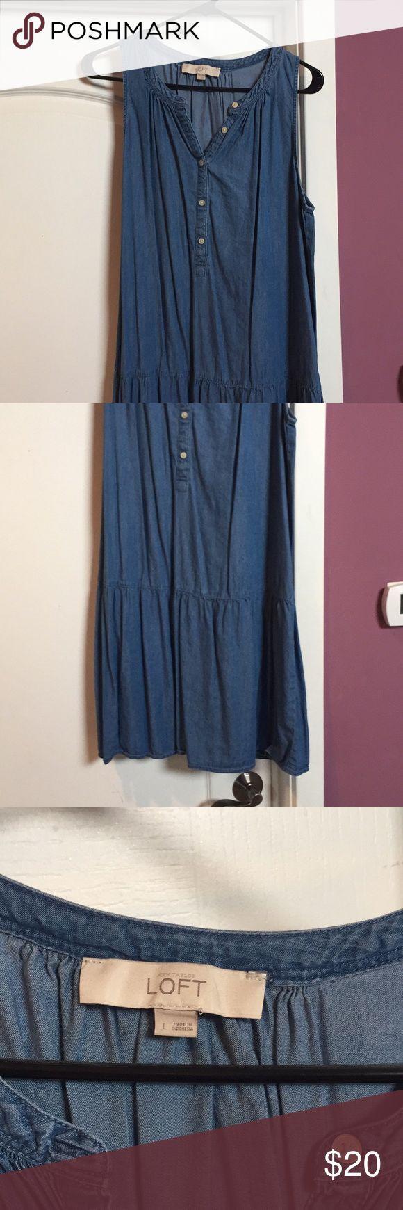 Denim mini dress Loft denim mini dress, only worn a few times. So cute on!! LOFT Dresses Mini