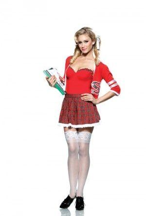 Varsity Vixen Cheerleader School Girl Fancy Dress Costume main image