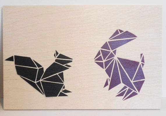 Stencil Art, Origami Animals on Plywood, Block Colours on Plywood on Etsy, $41.49