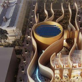 Padiglione Emirati Arabi Uniti  - Progettato da Foster+Partners, il Padiglione degli Emirati Arabi Uniti ha muri di sabbia increspata dal  vento alti dodici metri e un ingresso delineato da uno schermo video  lungo settantacinque metri. Tra i più spettacolari della manifestazione, al suo interno contiene un un auditorium cilindrico rotante e una rampa al termine della quale si scopre un'oasi che ospita esibizioni incentrate sul tema della sostenibilità. Filo conduttore dell'intera struttura…