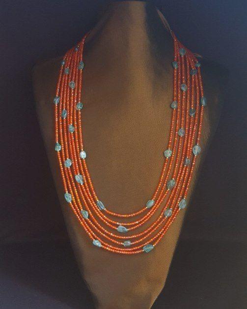 Carnelian Orange Cubic Zirconia & Apatite Necklace