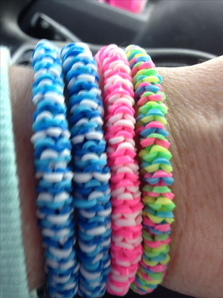 Inverted nautique rainbow loom bracelets i made.
