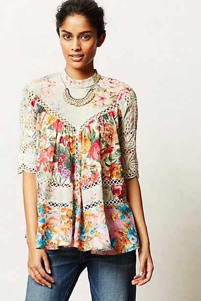 Frangipani Peasant Top - Love the print and color, hate the line. Would look better on something more structured
