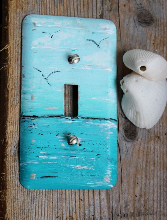 Coastal Room Decor Hand Painted Ocean  Light by ElaLakeDesign, $16.00 #seaside #coastalroom #lightswitchcover