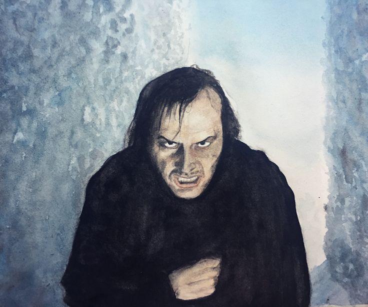 Watercolor painting of Jack Nicholson, The Shining, maze scene