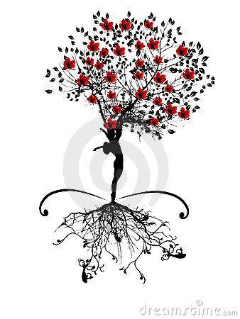 Árbol del resorte con la silueta de las mujeres