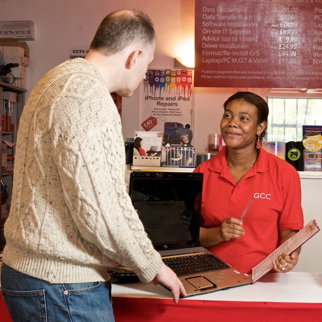 Ayo booking in a laptop for servicing #customerservice #reception #computerrepair #laptoprepair #greenwich #independentretail