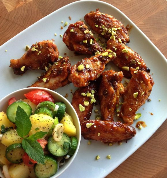 Pomegranate Glazed Buttery Pesto Chicken Wings
