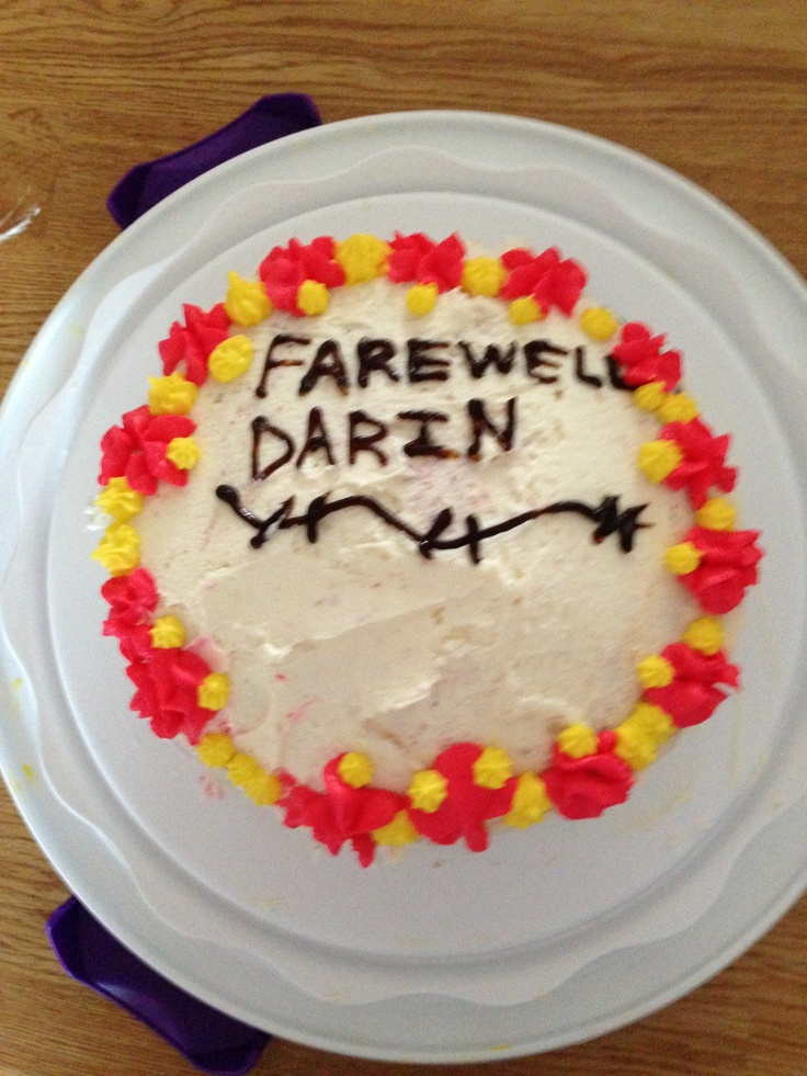 Farewell cake (red velvet with cream cheese frosting)