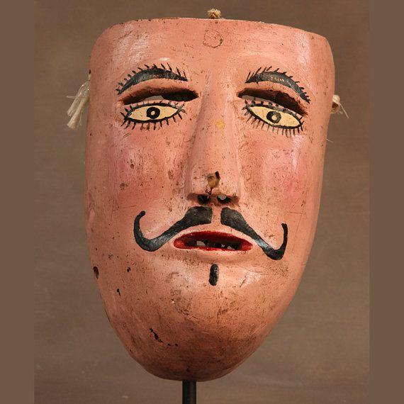 Mexican Danza de la Conquista Mask c1930's by SirRafflesArtHistory