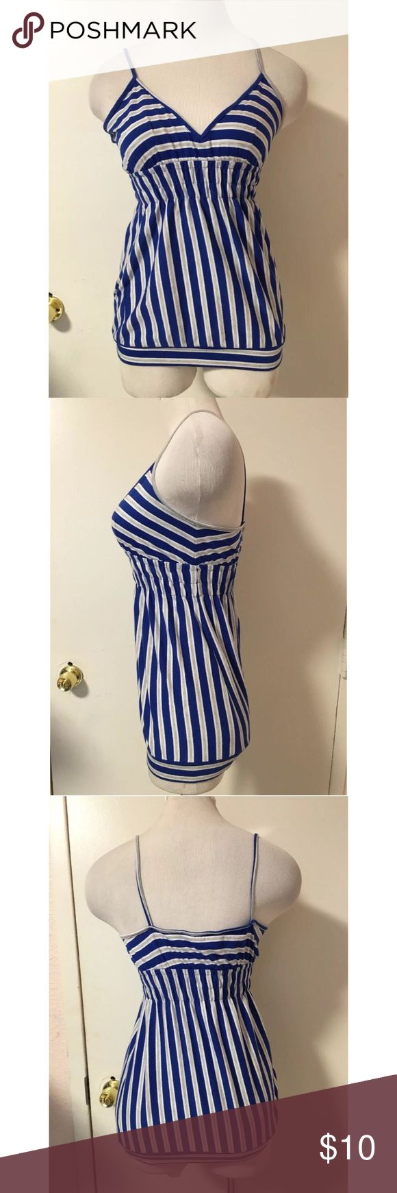 Blue Striped Cami Top Large Previously Owned. In Good Condition. Size: Large Material: 57% Cotton 38% Polyester 5% Spandex Tops Camisoles