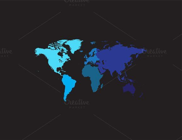 World map with continents blue. $7.00