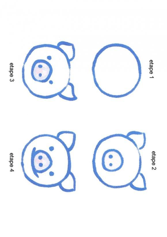 UNE TETE DE COCHON - Dessin - Dessiner - Apprendre à dessiner pas à pas - Divers