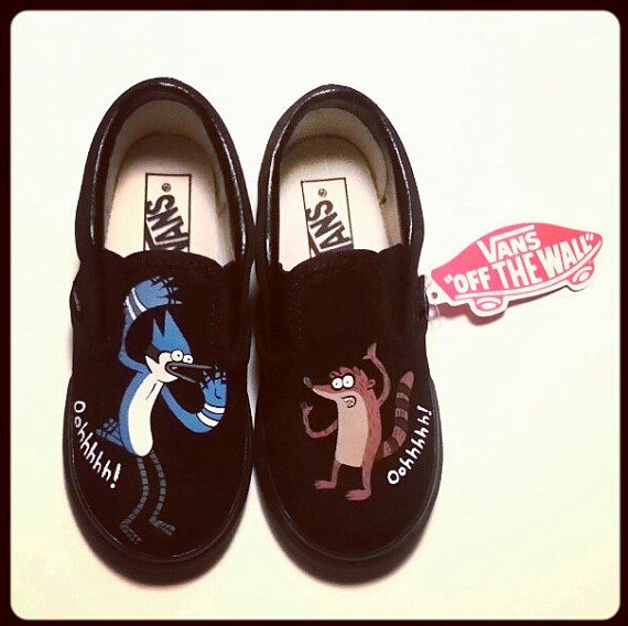 REGULAR SHOW SHOES for Children Cartoon Vans Toms Any Canvas Shoe on Etsy,  $65.00