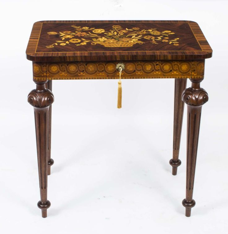 A beautiful antique French walnut marquetry occasional table, circa 1860.