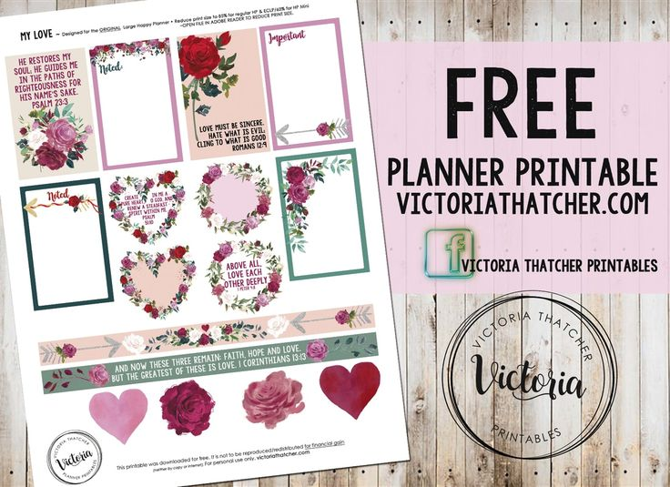 Free Printable My Love Planner Stickers from Victoria Thatcher