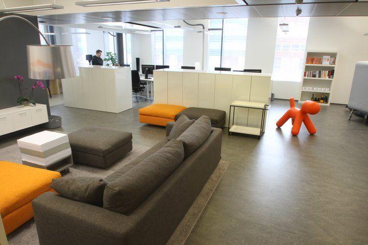 Office interior, Communicea, orange and grey