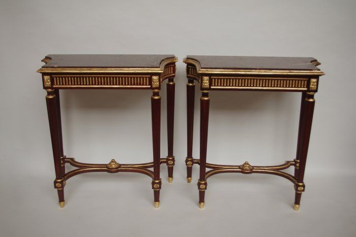 Pair of Louis XVI style consoles with red griotte marble top - Jean Luc Ferrand Antiquités, french antiques