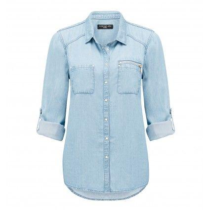 ForeverNew Cassie Double Stud Zip Denim Shirt Main Image