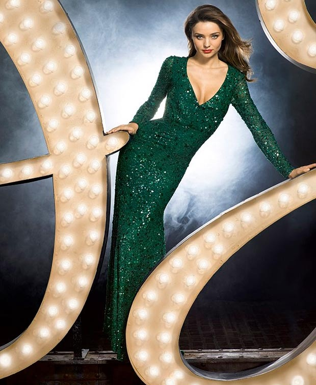 Miranda models a show-stopping emerald gown